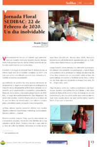 Article Revista Sedibac 96 sobre la Jornada Floral